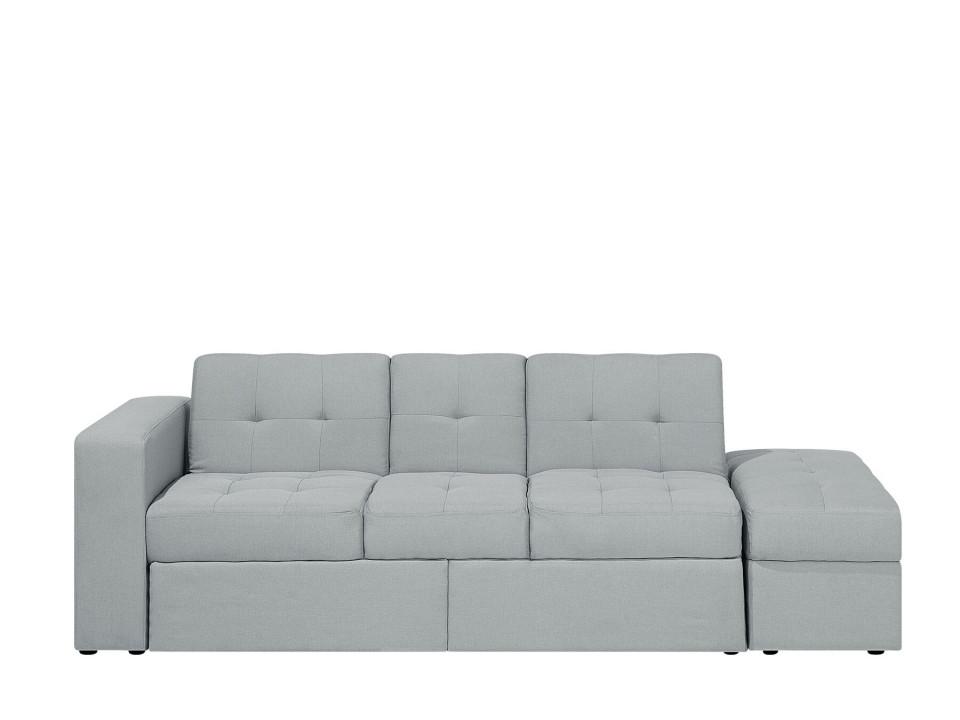 Canapea extensibilă FALSTER, lemn/poliester, gri, 71 x 210 x 94 cm