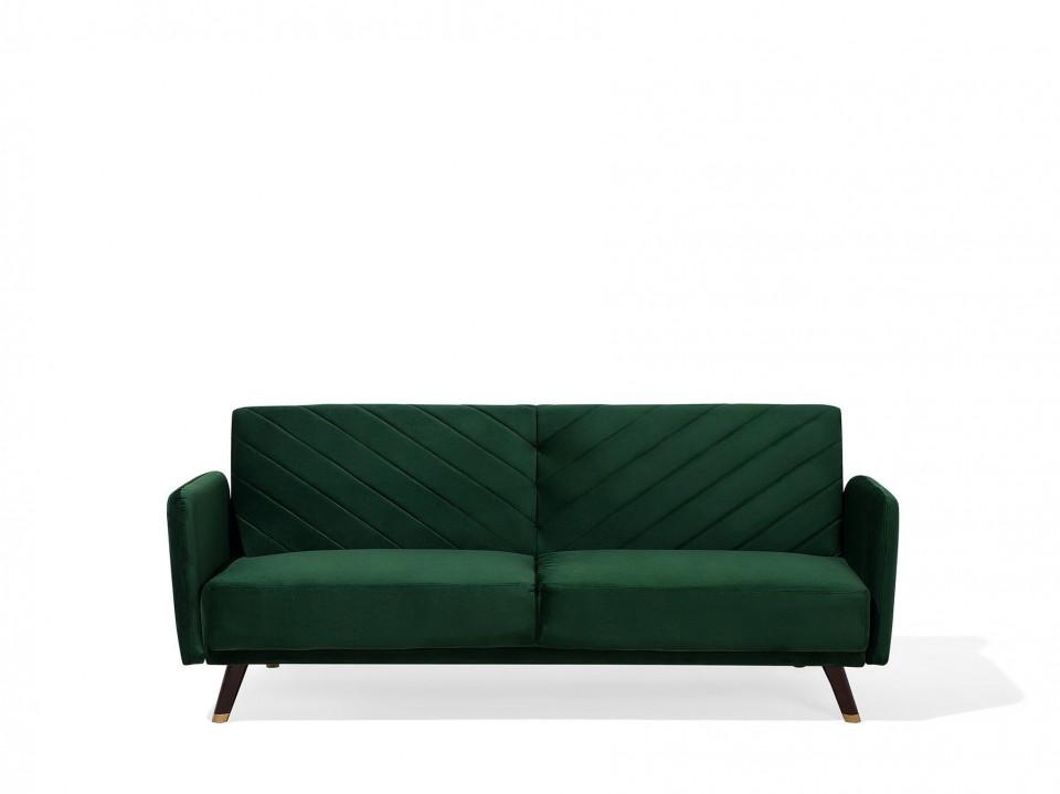 Canapea extensibilă SENJA, catifea, verde, 87 x 200 x 95 cm 2021 chilipirul-zilei.ro