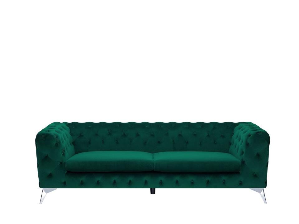 Canapea Sotra, catifea, verde, 70 x 224 x 85 cm chilipirul-zilei.ro