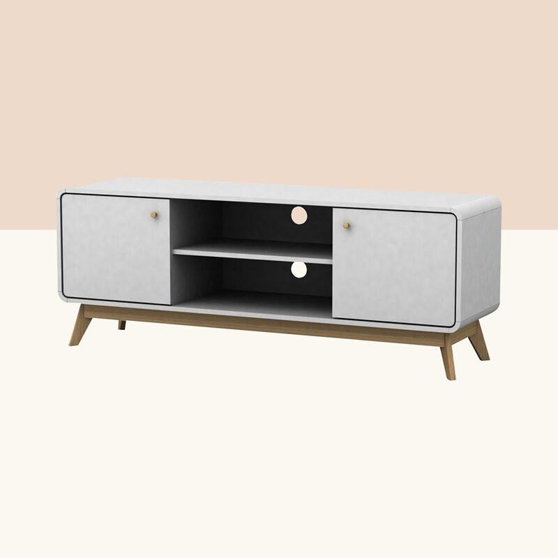 Comoda TV 60  Justine din lemn, alb, 140 x 53 cm