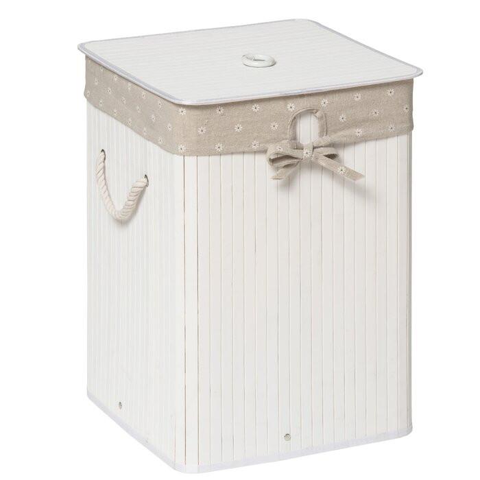 Cos pentru rufe, bambus/bumbac, alb, 50 x 35 x 35 cm poza chilipirul-zilei.ro