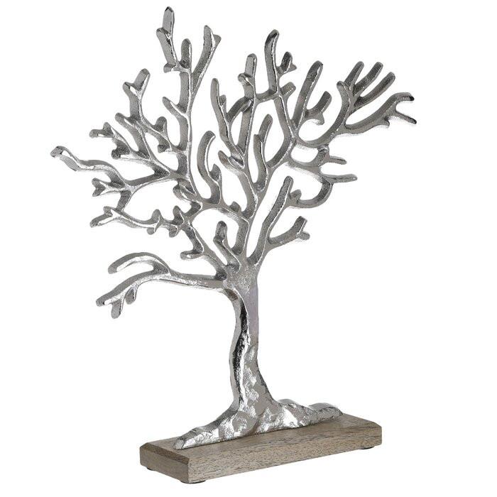 Decoratiune Tree Sherlene, aluminiu, argintie/maro, 35 x 7 x 32 cm