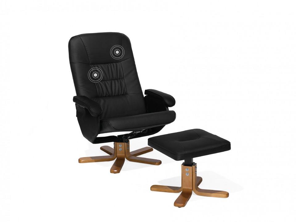 Fotoliu RELAXPRO, cu masaj, lemn/piele ecologica, negru, 70 x 50 x 102 cm imagine 2021 chilipirul zilei