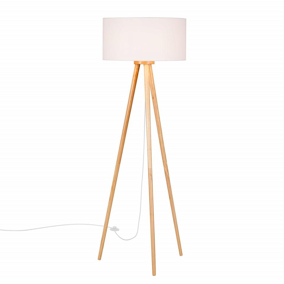 Lampadar Stabilo, lemn masiv/textil, alb/maro, 50 x 150 cm, 40w poza chilipirul-zilei.ro