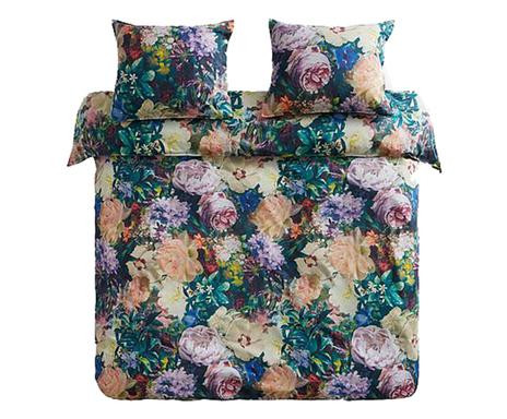 Lenjerie de pat cu husa pentru pilota Flori verde/galben/roz, matrimoniala