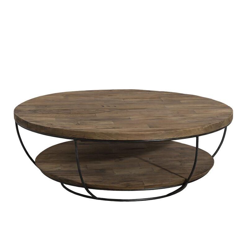 Masuta de cafea cu spatiu de depozitare, lemn de tec /metal