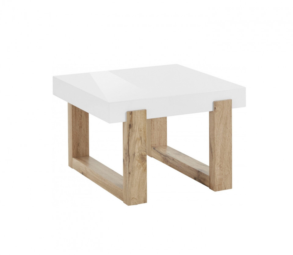 Masuta de cafea Solid MDF/lemn, alb, 60 x 40 x 60 cm