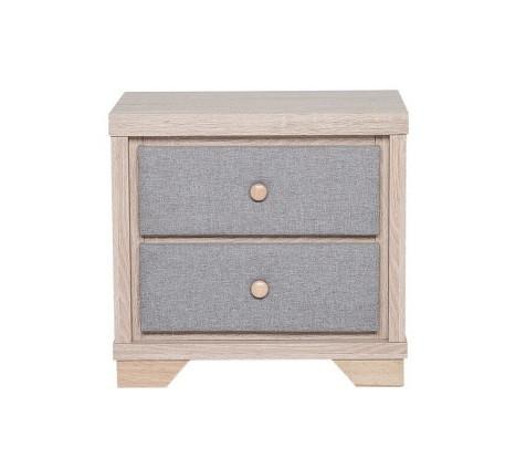 Noptieră cu 2 sertare BERCK, lemn/gri 52 x 40 x 55 cm imagine chilipirul-zilei.ro