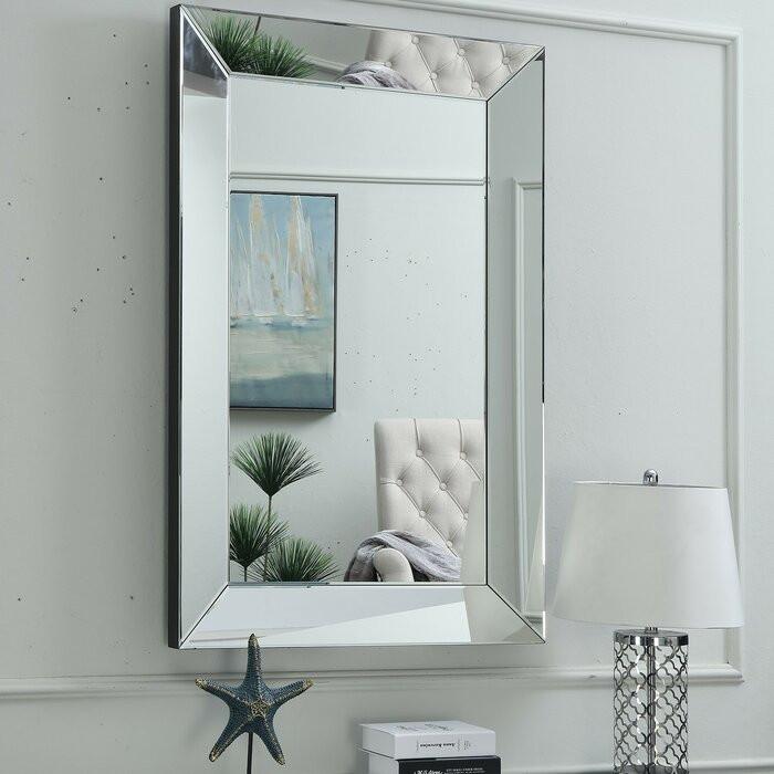 Oglindă de perete Abalone, argintie, 120 x 80 x 5 cm imagine chilipirul-zilei.ro
