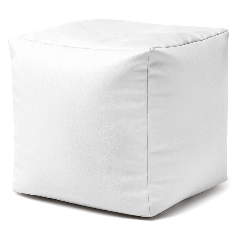 Puf Severine din piele ecologica, alb, 38 x 38 cm