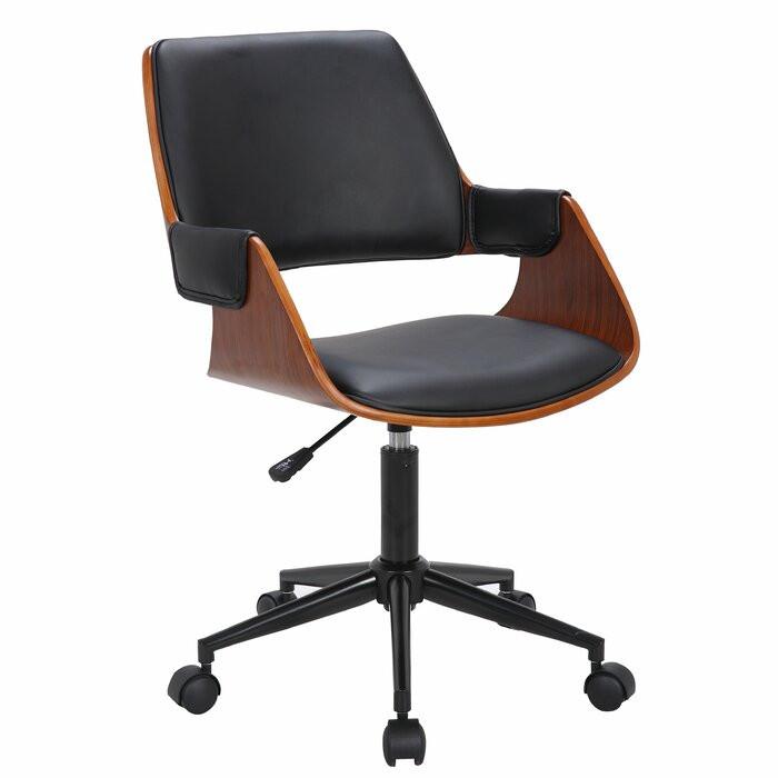Scaun de birou Eddie, metal, negru/maro, 53,98 x 58,98 cm