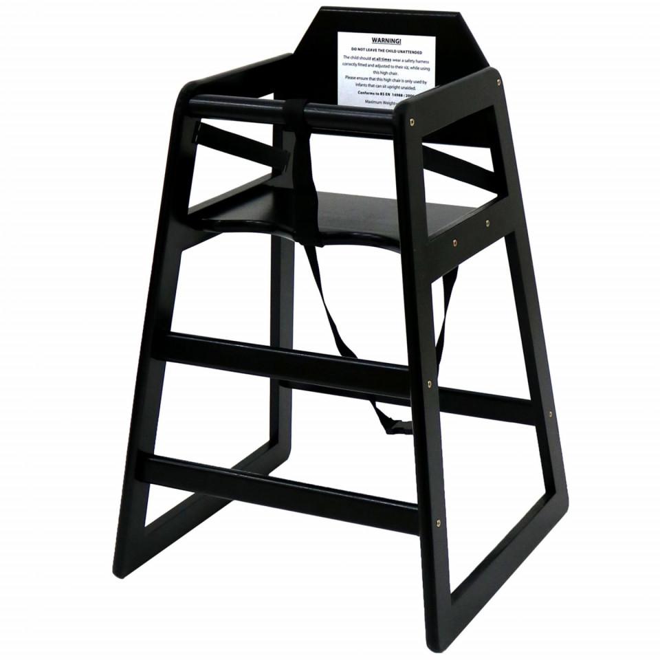 Scaun înalt pentru copii Oypla din lemn, negru