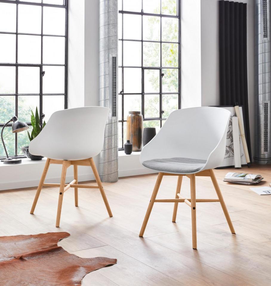 Set de 2 fotolii Ken, tesatura/lemn, alb/gri/maro, 50 x 54 x 81 cm