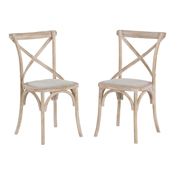Set de 2 scaune Basche din lemn masiv, 89 x 50 x 50cm