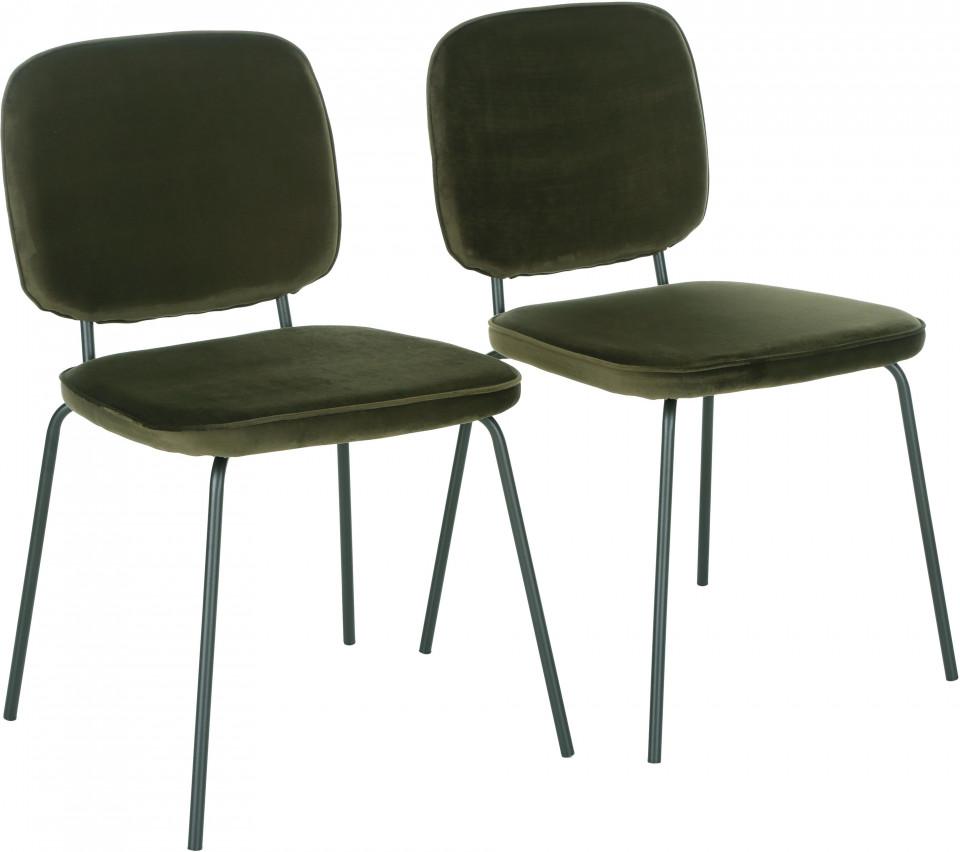 Set de 2 scaune tapițate din catifea Jasper, verde padurar