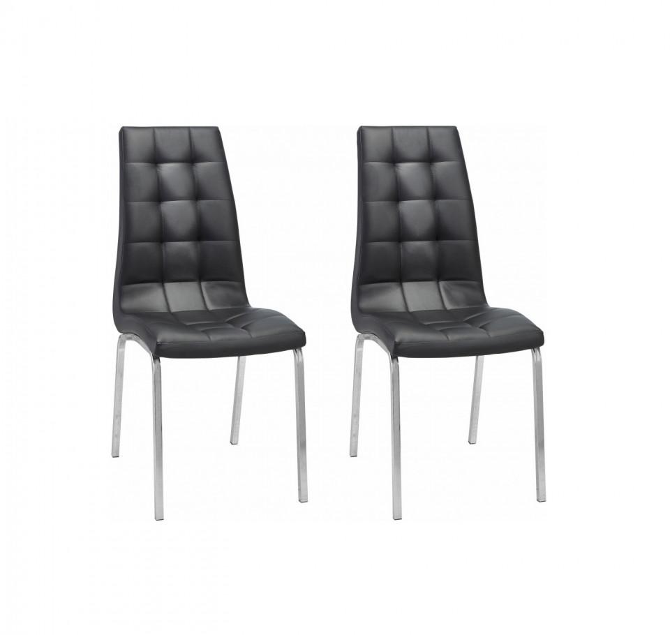 Set de 2 scaune tapitate Lila negru/argintiu