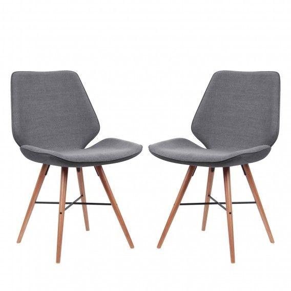 Set de 2 scaune Tove tesatura, gri, 44.4 x 84.4 x 50cm poza chilipirul-zilei.ro