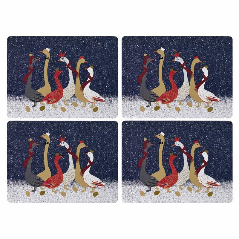 Set de 4 naproane Geese Cork, multicolor imagine chilipirul-zilei.ro