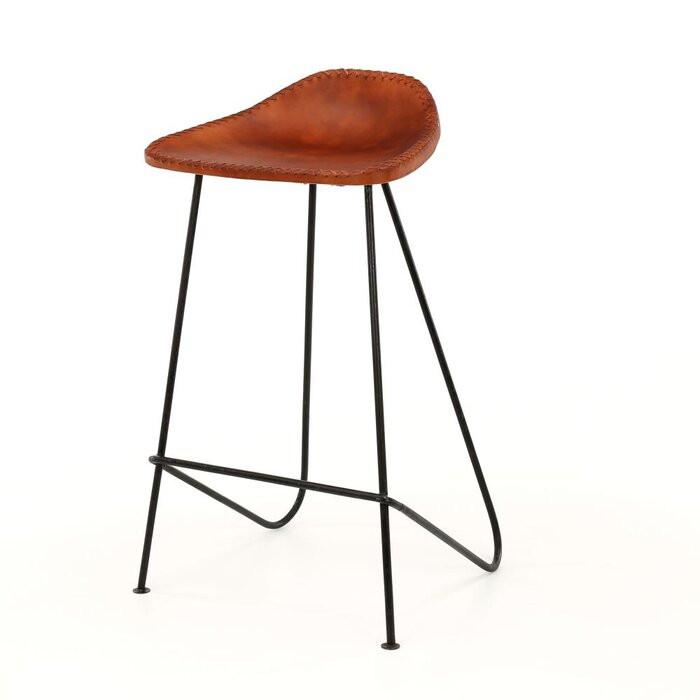 Set de 4 scaune de bar Etheridge, negre/maro, 77 x 45 x 35 cm 2021 chilipirul-zilei.ro