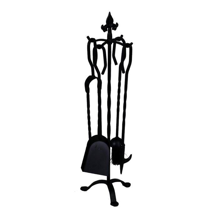 Set de 5 unelte pentru semineu, fier, negru, 68 x 22 x 22 cm imagine chilipirul-zilei.ro