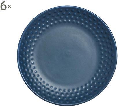 Set de 6 farfurii albastre cu textură Abode chilipirul-zilei.ro