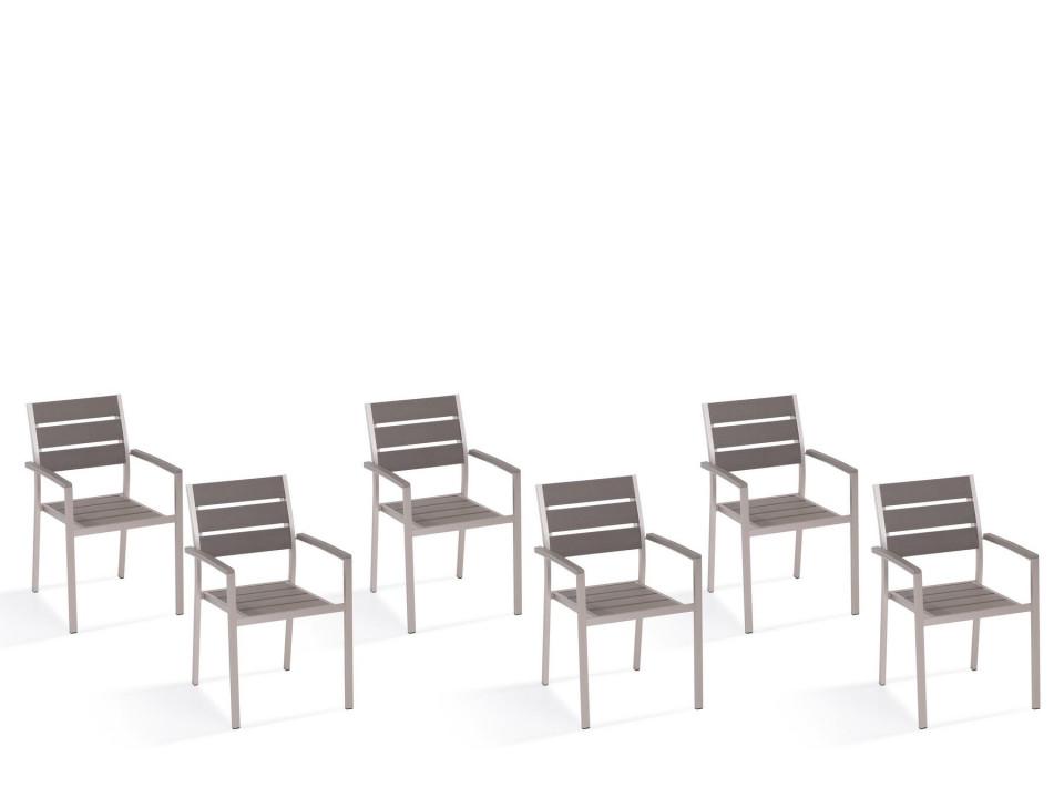 Set de 6 scaune de gradina Vernio, aluminiu/ lemn, gri, 54 x 57 x 88 cm chilipirul-zilei.ro
