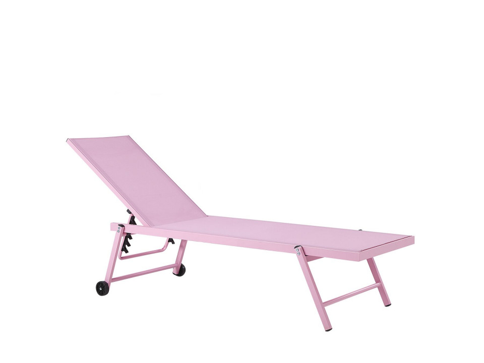 Sezlong reclinabil Portofino, roz, 198 x 65 x 107 cm image0