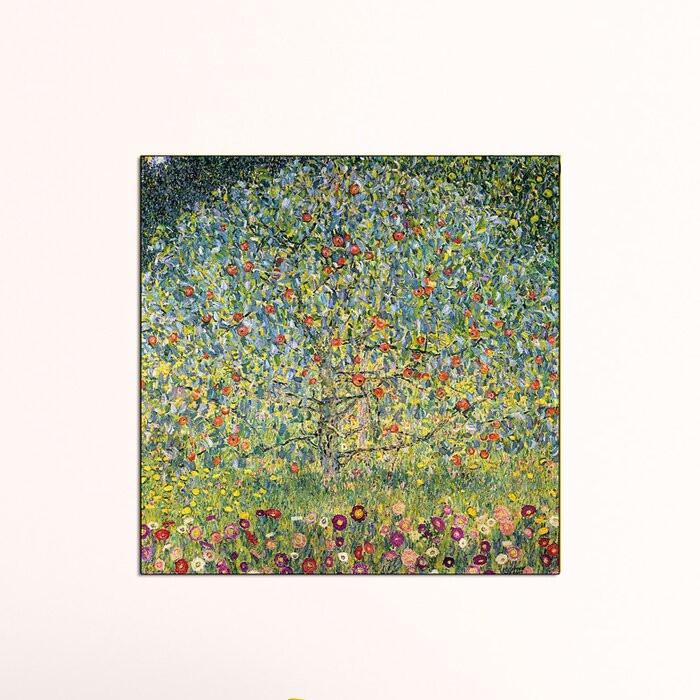 "Tablou ""Apple Tree"", panza, verde/galben/violet, 50 x 50 x 1,8 cm imagine chilipirul-zilei.ro"