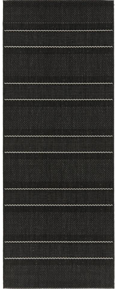 Traversa, lana/polipropilena, negru/crem, 80 x 200 cm
