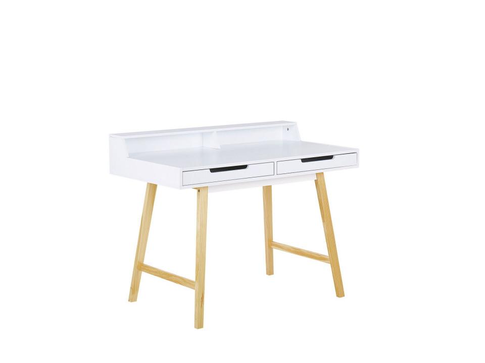 Birou BARIE, MDF/lemn de pin, alb, 85 x 110 x 58 cm imagine 2021 chilipirul zilei