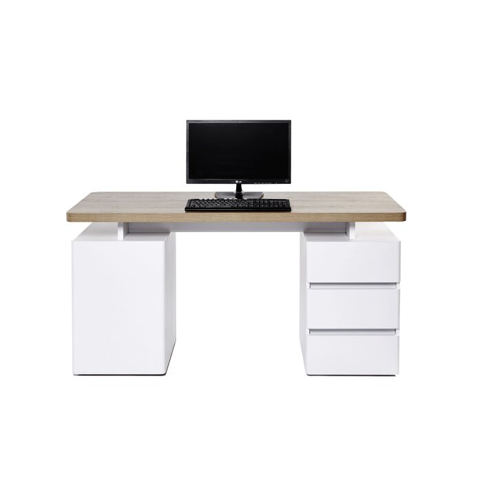 Birou Cuuba Libre, lemn, maro/alb, 75.5 x 150 x 55 cm