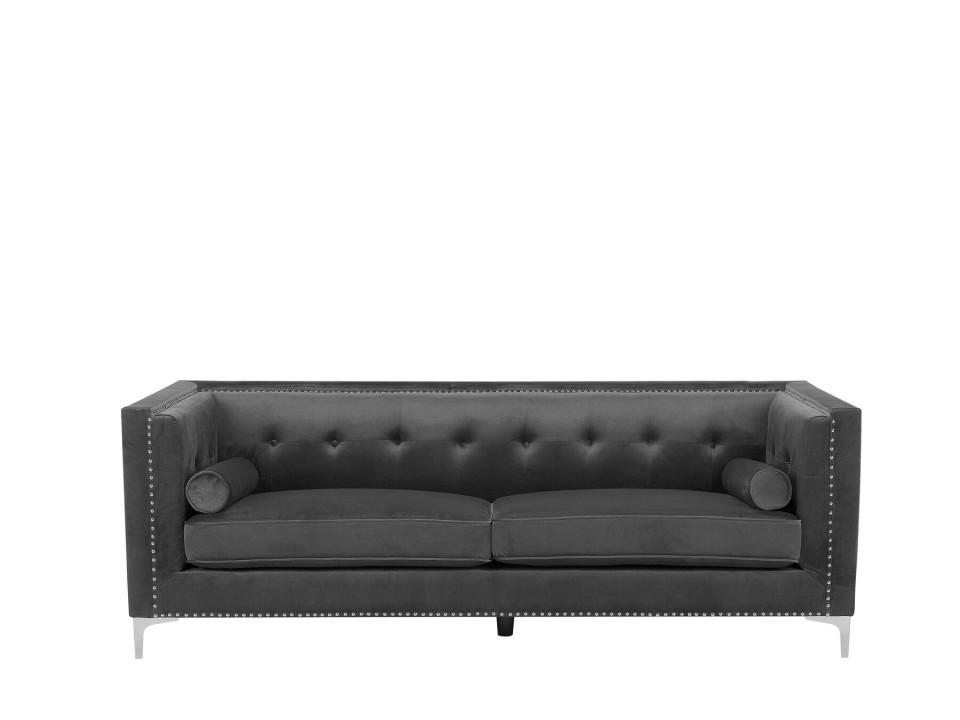 Canapea cu 3 locuri AVALDSENES, catifea, gri închis, 176 x 58 x 74 cm 2021 chilipirul-zilei.ro