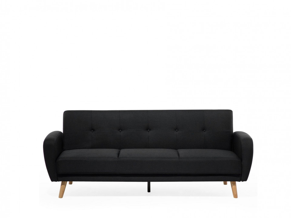Canapea extensibila FLORLI, lemn/poliester, neagra, 82 x 214 x 85 cm
