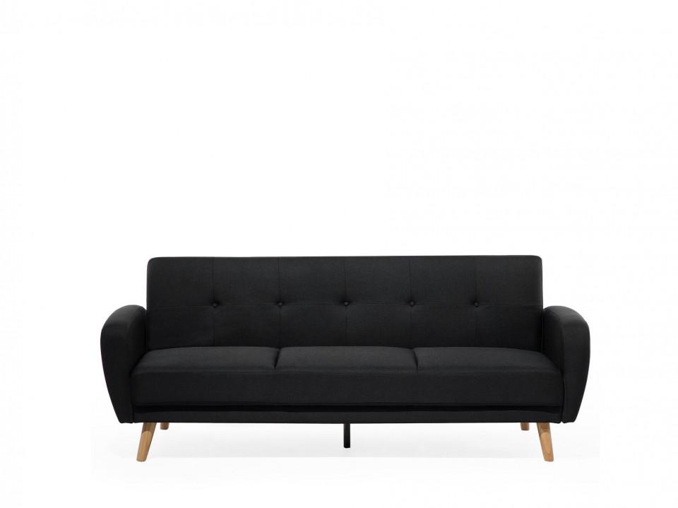 Canapea extensibila FLORLI, textil, neagra, 82 x 214 x 85 cm poza chilipirul-zilei.ro