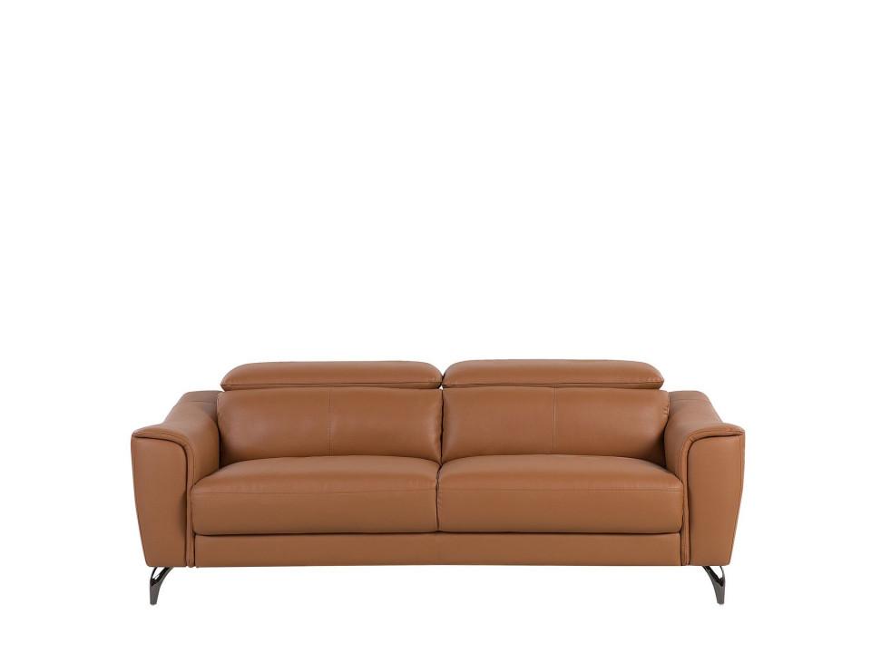 Canapea NARWIK, lemn/piele, maro, 93 x 203 x 98 cm