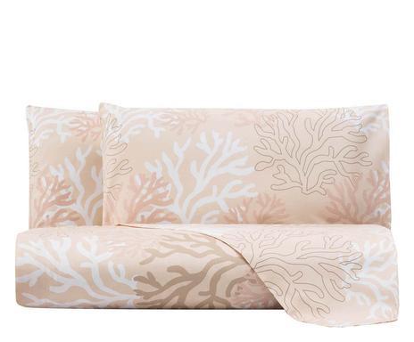 Cearsaf de pat s 2 fete de perna Coral, matrimonial