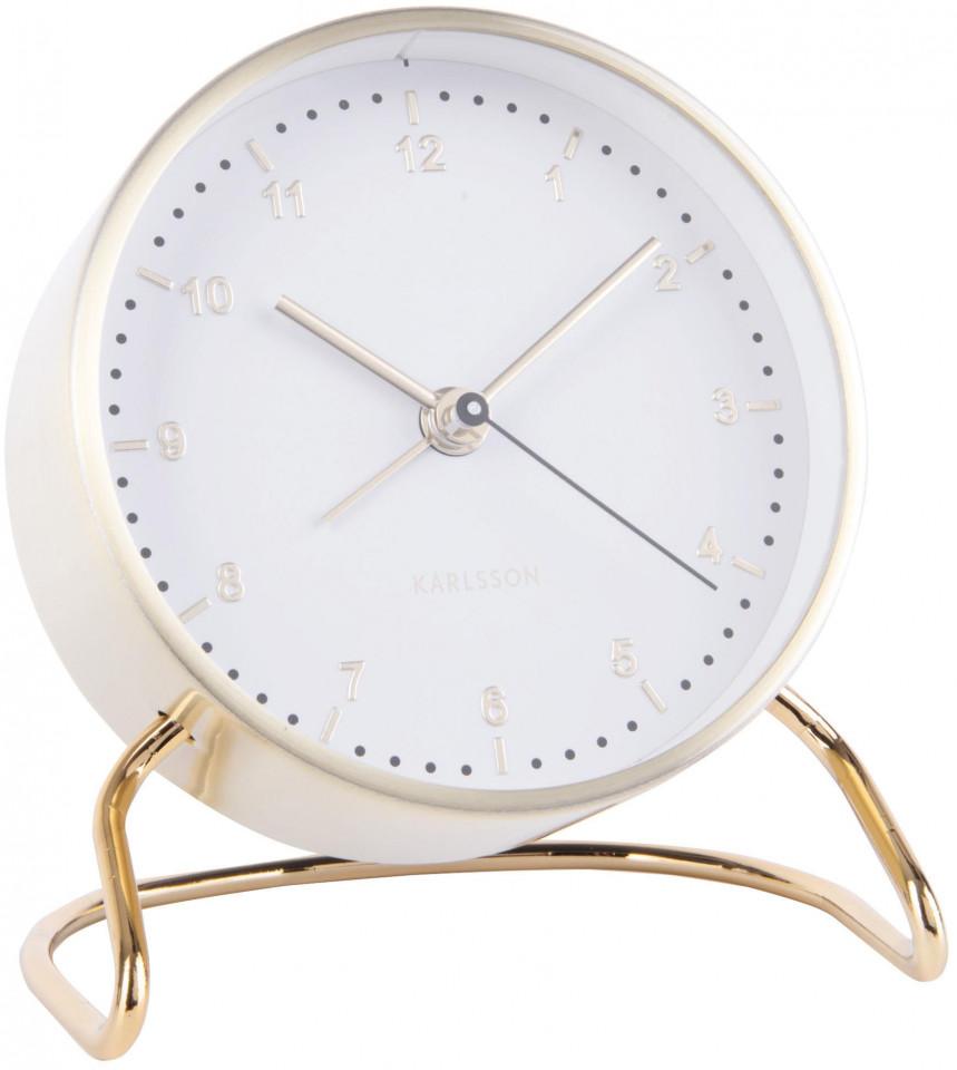 Ceas cu alarmă, alb/auriu, 9 x 11 cm imagine 2021 chilipirul zilei
