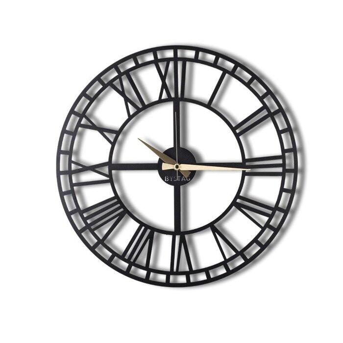 Ceas de perete Odelina, metal, negru, 70 x 70 x 0,2 cm poza chilipirul-zilei.ro