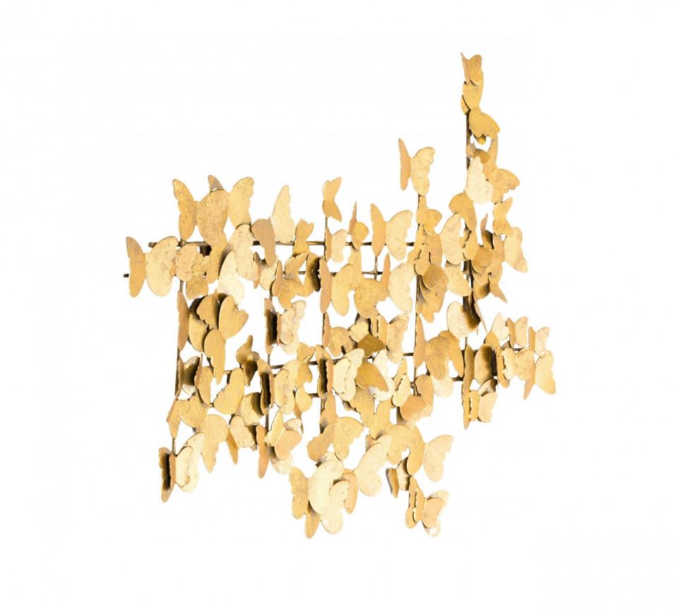 Decoratiune de perete metalica Butterfly, aurie, 104 x 62 cm poza chilipirul-zilei.ro