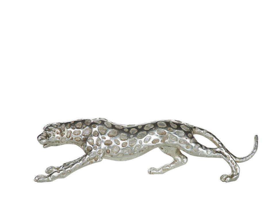 Figurina LEOPARD, polyresin, argintie, 50 x 9 x 14 cm poza chilipirul-zilei.ro