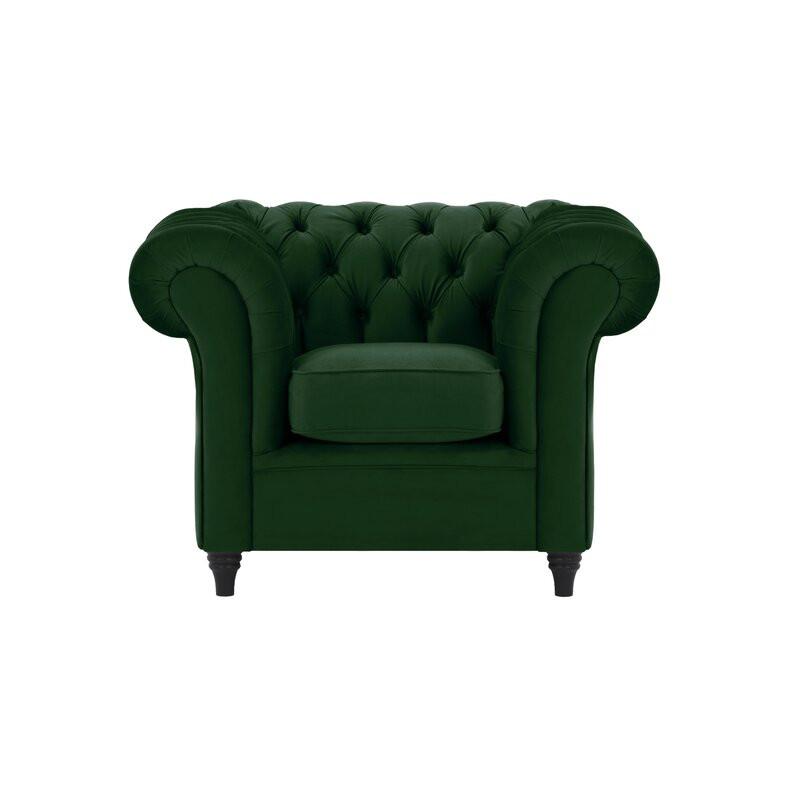 Fotoliu Chesterfield din catifea verde, 90 x 78 cm