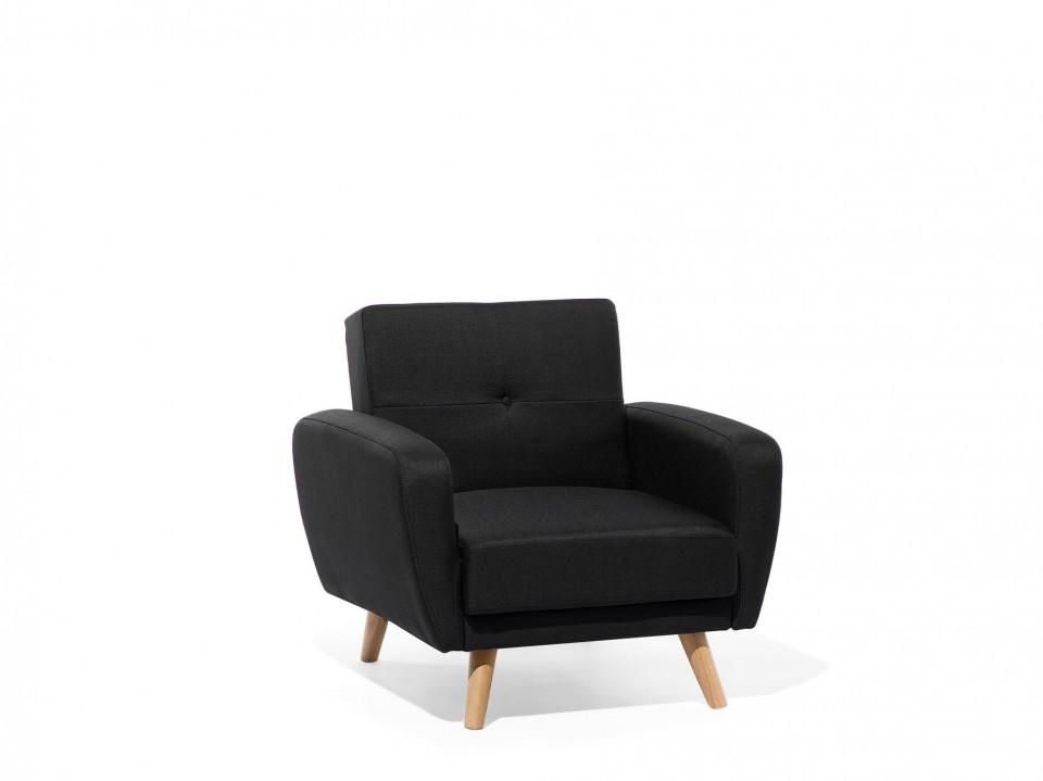 Fotoliu FLORLI, lemn/poliester, negru, 89 x 85 x 82 cm