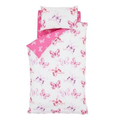 Husă pentru pilotă Butterfly Easy Care, roz/alb, 200 x 135 cm