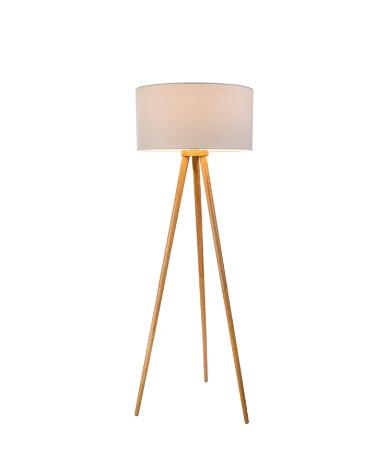 Lampadar Stabilo, lemn/tesatura, maro, 50 x 150 cm, 40w imagine 2021 chilipirul zilei