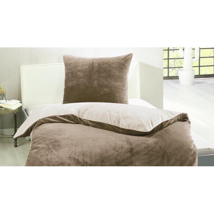 Lenjerie de pat si 1 fata de perna, taupe/alb, 135 x 200 cm poza chilipirul-zilei.ro