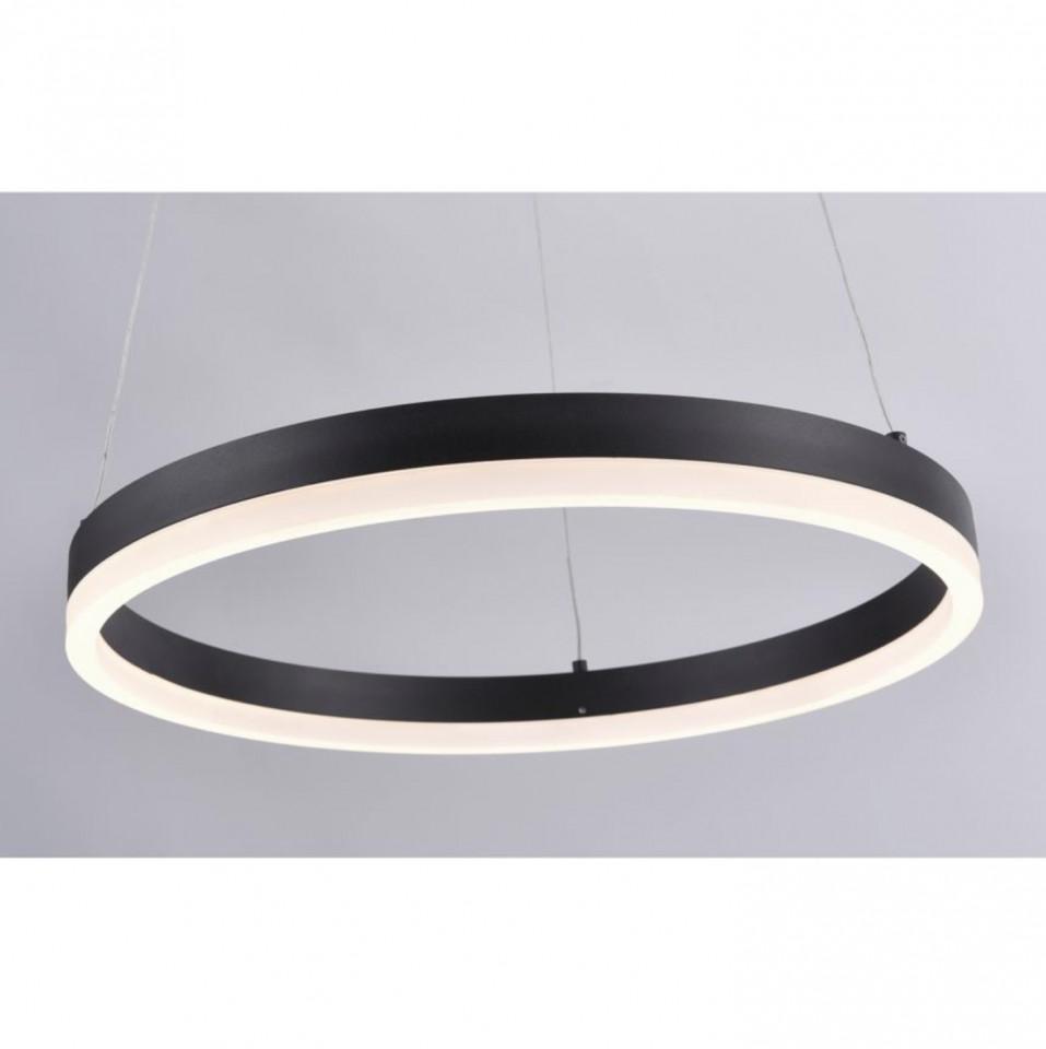 Lustra tip pendul LED Titus aluminiu / sticla acrilica, 1 bec, diametru 60 cm, negru, 230 V imagine