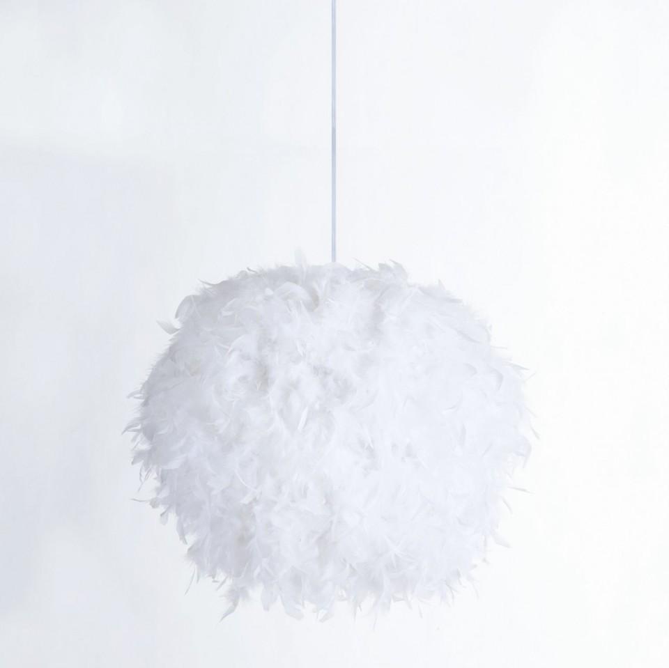 Lustra tip pendul Taiva, metal/pene, alb/crome chilipirul-zilei.ro