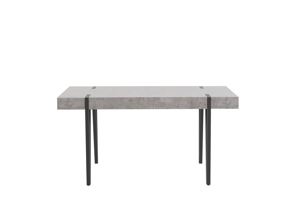 Masa ADENA, MDF/metal, gri/neagra, 75 x 90 x 150 cm