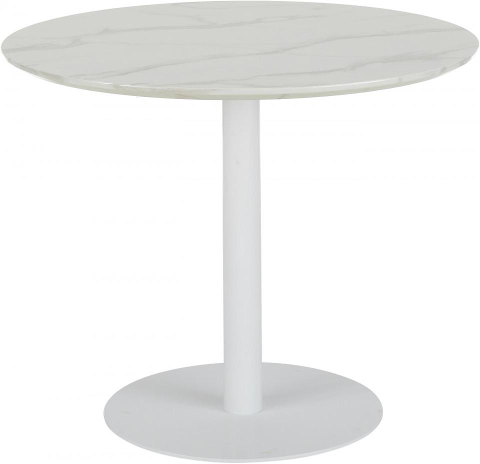 Masă rotundă Karla cu efect de marmură, alb mat, 90 x 75cm