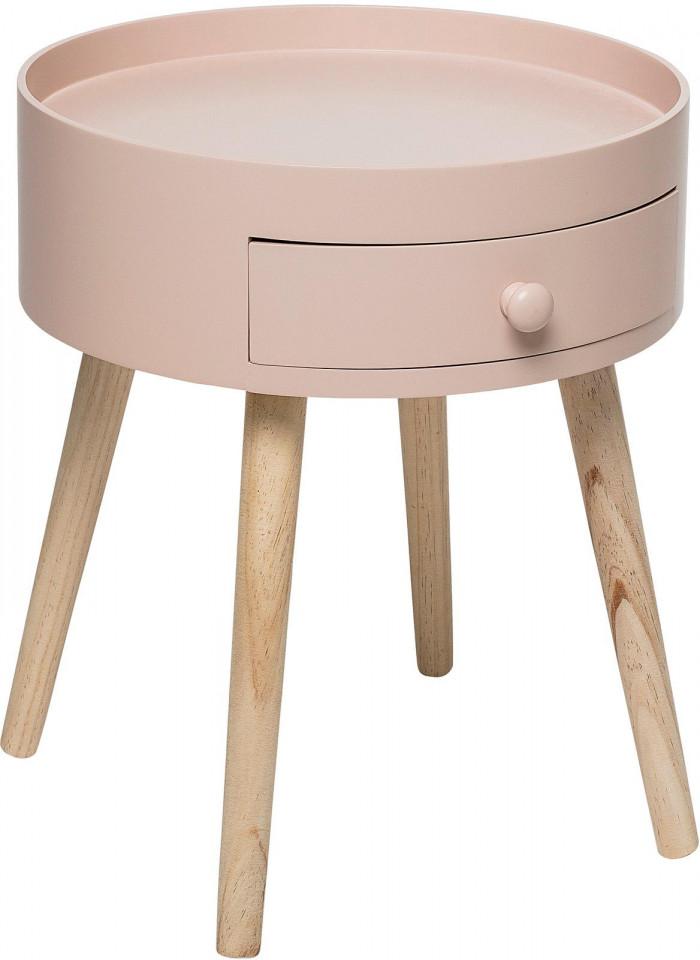 Masuta de cafea cu sertar, roz/maro, 38 x 45 x 34 cm imagine 2021 chilipirul zilei